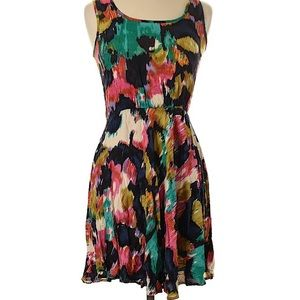 Angie Casual Watercolor Keyhole Back Dress